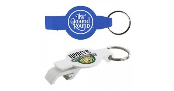 custom logo round beverage wrench bottle can opener w key chain. Black Bedroom Furniture Sets. Home Design Ideas