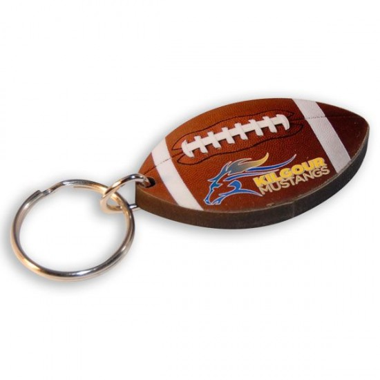 Full Color Custom Shape Wood Key Ring with Your Logo