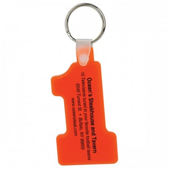 Custom Logo Number one shape soft squeezable key tag.