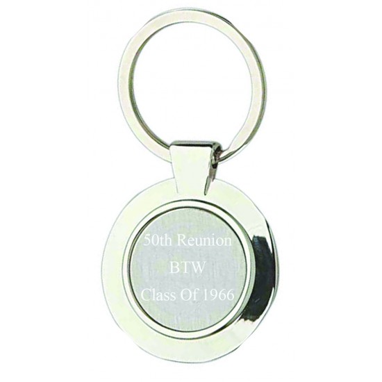 Custom Logo Sterling Silver Plated Circle Keyring