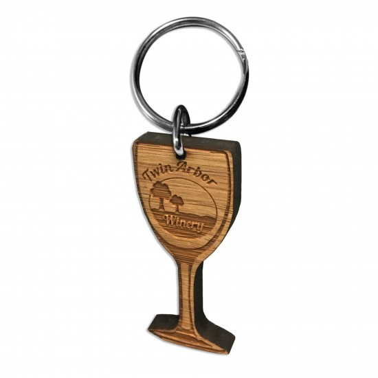 Custom Shape Bamboo Keychain Etched with Your Logo