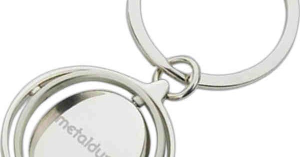 The Circle Game Keychain Chrome Metal Spinning Oval Bottle Opener