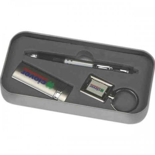 Custom Logo Pen Metal Lighter And Keychain Gift Set