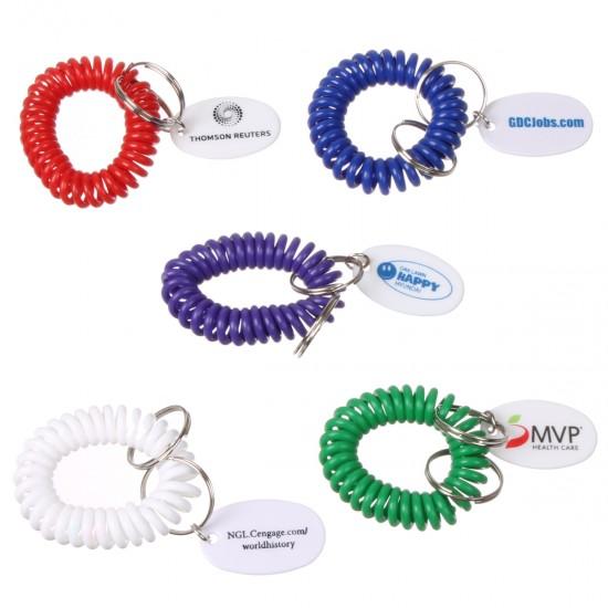 Custom Logo Bracelet coil key chain with oval tag.