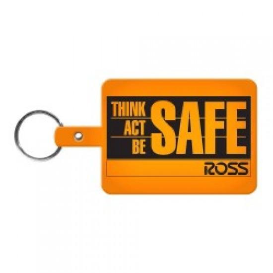 Custom Logo Large Rectangle - Rectangular, soft flexible key tag