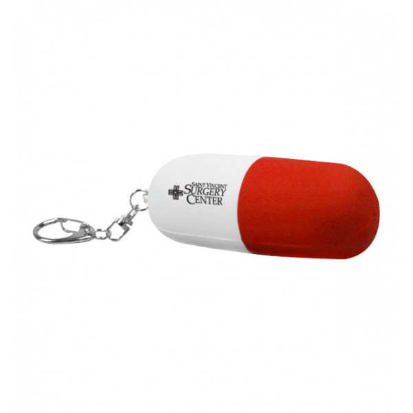 custom logo red white pill capsule shaped key chain stress